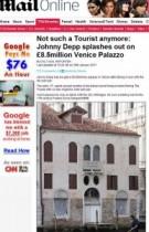 【イタすぎるセレブ達】ジョニー・デップ、ヴェネツィアで17世紀の宮殿を落札。