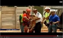 """【アフリカ発!Breaking News】160m下の鉱山跡""""ビッグホール""""に落ちた犬、無事救助される。(南ア)"""