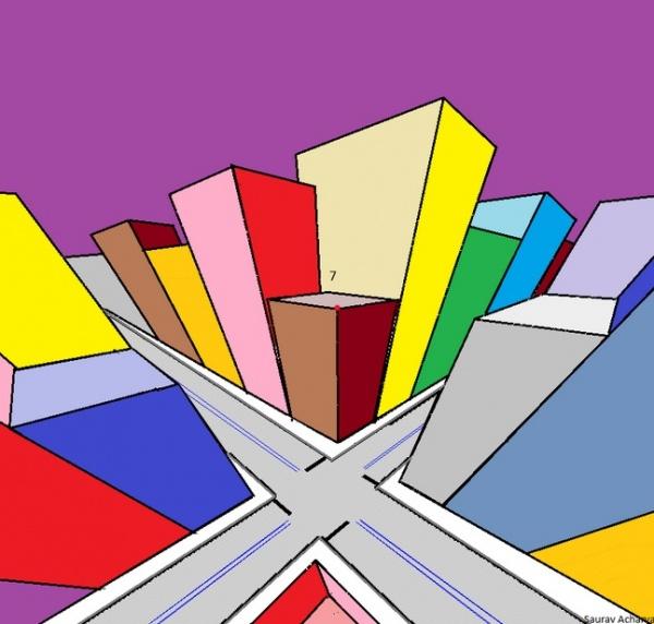 【海外発!Breaking News】これは楽しいイリュージョン! カラフルな高層ビル群の絵をじっと見ていると…!?