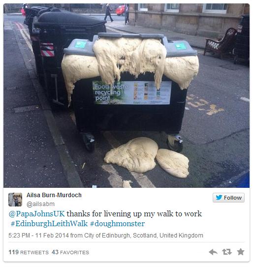 スコットランドでピザ生地の大量廃棄。(画像はTwitter/@Ailsa Burn-Murdochより)
