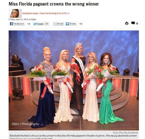 【米国発!Breaking News】ミス・フロリダ、採点ミスでティアラ返上。ミスコン主催者に痛恨のミス!