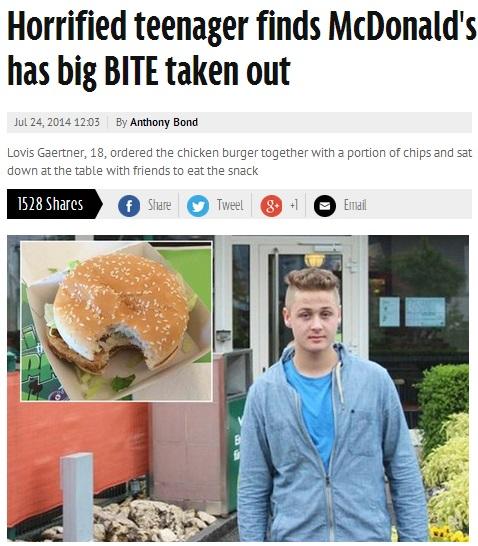 【EU発!Breaking News】マクドナルド、客がかじった冷たいハンバーガーを別の客に提供。(スイス)
