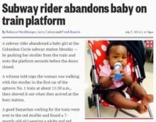 【米国発!Breaking News】20歳鬼母、混雑する地下鉄ホームに10か月女児を置き去り。(NY州)