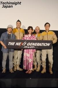 笑いの絶えない舞台挨拶となった 左から押井守総監督、田尻茂一、真野恵里菜、塚本能礼、しおつかこうへい