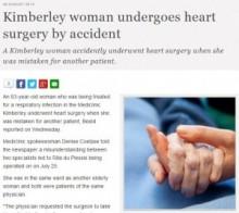 【アフリカ発!Breaking News】患者を取り違えた執刀医、心臓手術を施す。(南ア)