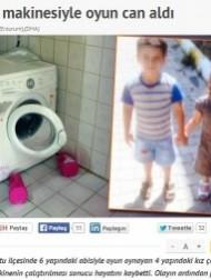 【中東発!Breaking News】洗濯機の中に隠れた妹、6歳兄がスイッチを入れて死亡させる。(トルコ)