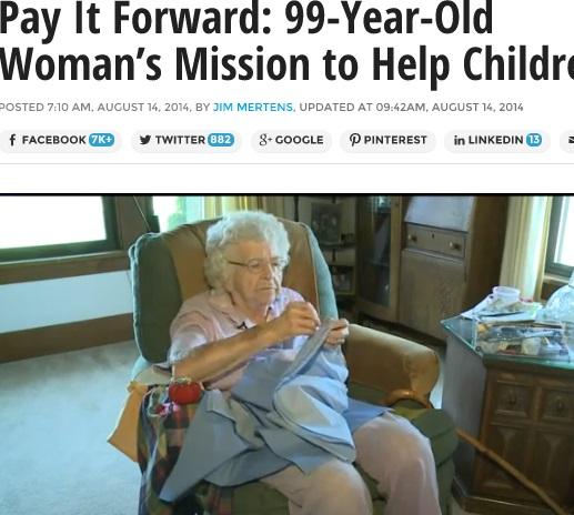 【米国発!Breaking News】「アフリカの少女に届けたい」。日々ワンピースを縫い続ける99歳女性。(アイオワ州)
