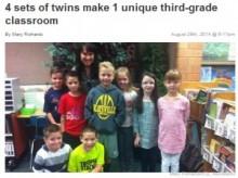 【米国発!Breaking News】学級に4組もの双子。担任の先生も思わず「まいった」!?(ユタ州)