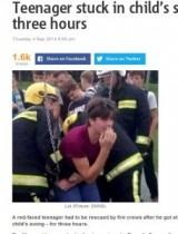 【EU発!Breaking News】15歳少年、幼児用ブランコから抜け出せず。レスキュー隊出動にただ赤面。(英)