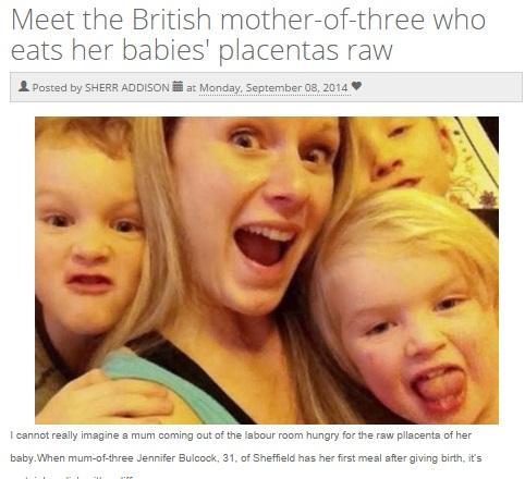 出産のたびに胎盤をナマで食べたと語る英女性(画像はtruyan.comのスクリーンショット)
