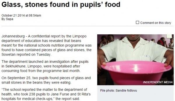【海外発!Breaking News】学校給食にガラスや小石が混入。原因は政府から支給された豆だった!(南ア)