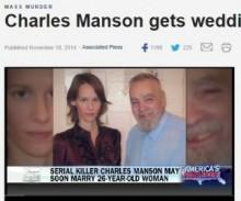 """【海外発!Breaking News】""""連続殺人鬼""""チャールズ・マンソン80歳が獄中結婚へ。お相手は26歳一般女性。"""