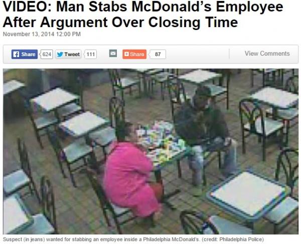 【海外発!Breaking News】米・マクドナルド店員、「もう閉店かよ!」と深夜の来店客にナイフで刺される。