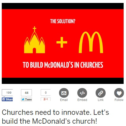 【海外発!Breaking News】教会内にマクドナルド店舗を! 新構想で米国人の教会離れを救えるか?