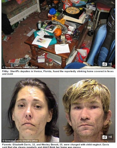 """【海外発!Breaking News】吸い殻と腐敗物の山。""""汚部屋""""で子育ての30代夫婦が逮捕。(米)"""