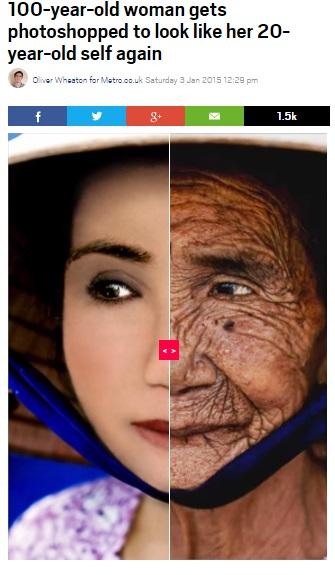 【海外発!Breaking News】100歳老女、フォトショップ加工で20歳当時の美貌よみがえる!<動画あり>