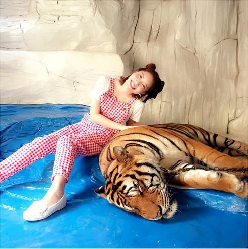 虎に触る河西智美。(画像は『instagram.com/chiyu3u』より)