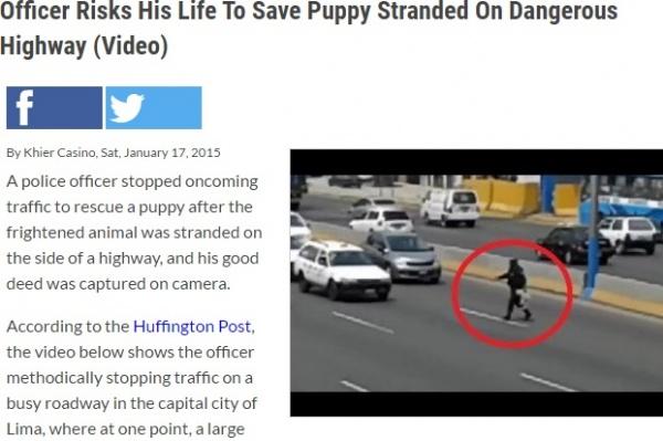 【海外発!Breaking News】命がけで小犬の命を救ったペルーの警察官。