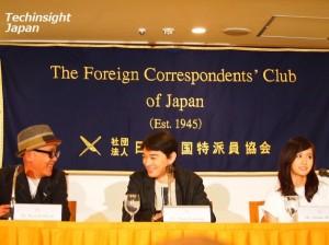 『さよなら歌舞伎町』「日本外国特派員協会」記者会見。左から廣木隆一監督、染谷将太、前田敦子。