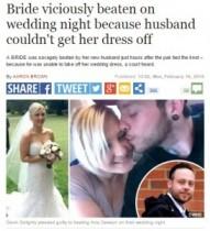 【海外発!Breaking News】結婚式の夜に新郎がDV行為。「ドレスを脱ぐから手伝って」と言った妻に逆上。(英)