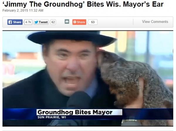 【海外発!Breaking News】リスが春の到来を占う「グラウンドホッグデー」、市長が耳たぶを噛みつかれる!(米)