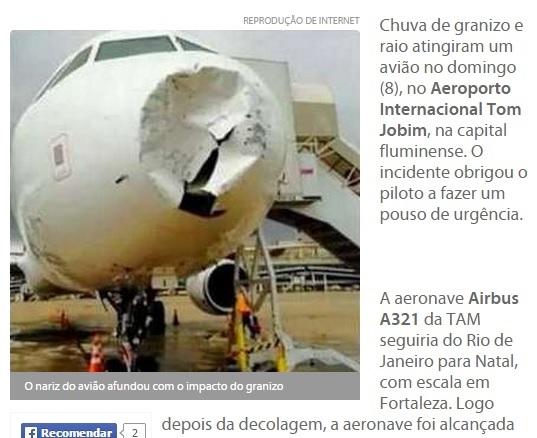 ボコボコになったTAM航空機の機首(画像はopovo.com.brのスクリーンショット)