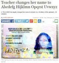 【海外発!Breaking News】ABCDEFGさん。誰もが「エッ!?」と驚く名の女性が南米コロンビアに。