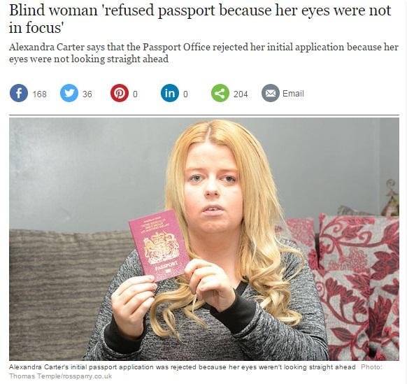 【海外発!Breaking News】盲目の女性、パスポート発給を拒否される。なんと「斜視」が理由。(英)
