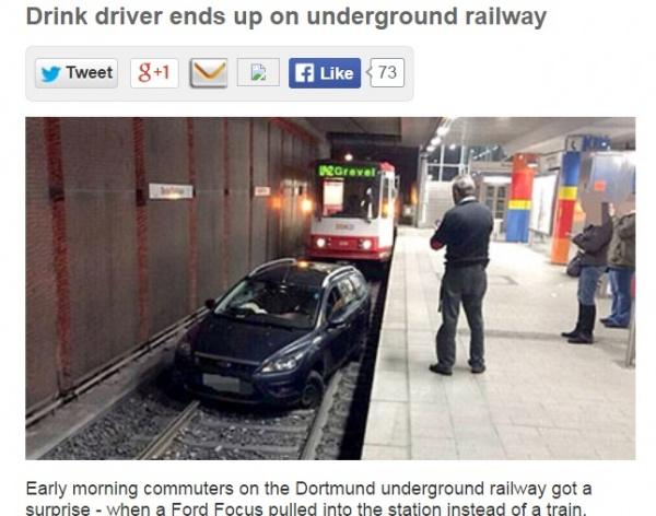 【海外発!Breaking News】飲酒運転の車、地下鉄の線路に侵入。朝の通勤利用客が大迷惑!(独)