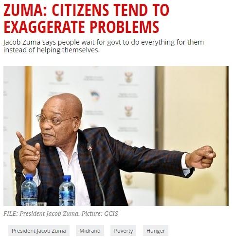ズマ大統領の発言に国民は呆れる(画像はewn.co.zaのスクリーンショット)