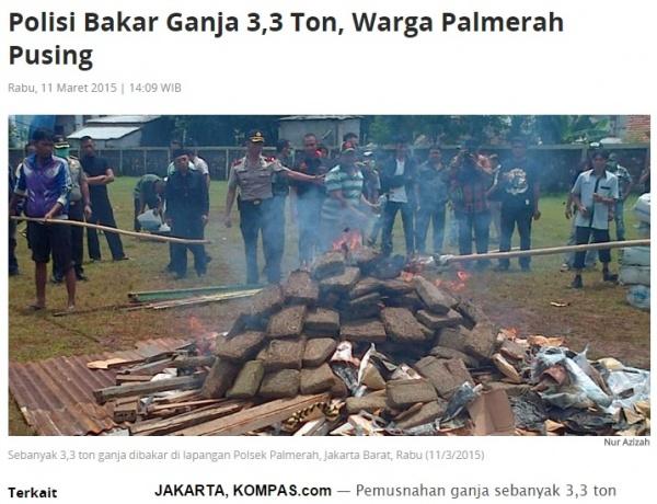 【海外発!Breaking News】500kgものドラッグを警察が焼却処分。付近一帯の住民に健康被害。(インドネシア)