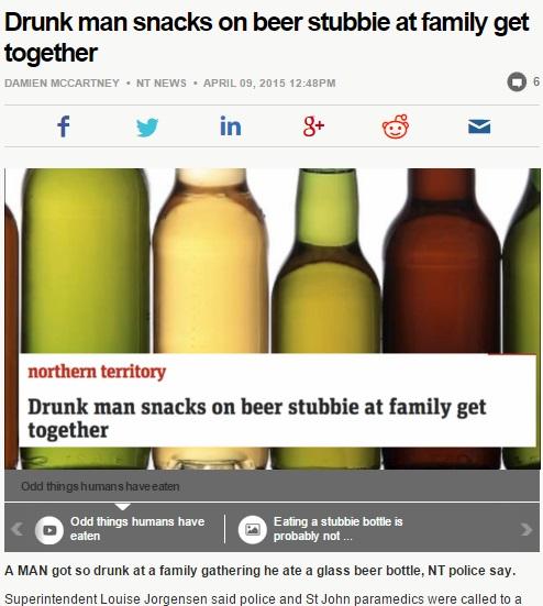 【海外発!Breaking News】酔っ払い、ビールを瓶ごと飲み込んで救急搬送。(豪)