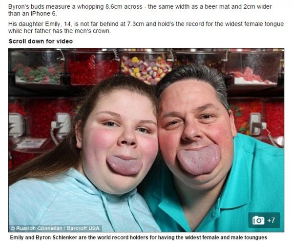 【海外発!Breaking News】世界No.1の大きな舌を持つ男性。娘も遺伝で世界No.2!(米)