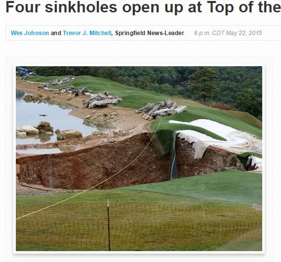 【海外発!Breaking News】有名ゴルフコースで豪雨後に大穴4つ。最大で深さ10m!(米)