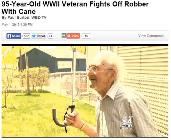 【海外発!Breaking News】「95歳をバカにするな」。退役軍人、杖でひったくり犯を撃退。(米)