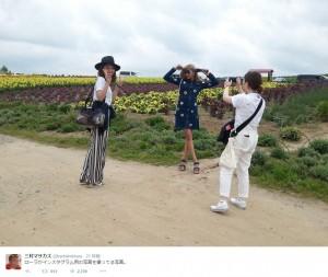 三村が撮った、撮影中のローラたち(画像は『三村マサカズ ツイッター』のスクリーンショット)