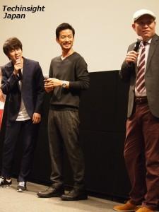 映画『at Home アットホーム』に出演した竹野内豊、村本大輔、千原せいじ。