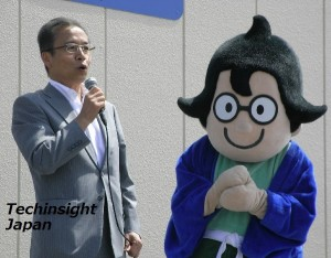松戸徹市長と船えもんもイベントに登場