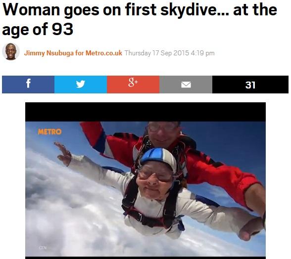 【海外発!Breaking News】93歳! 超高齢女性がスカイダイビングに成功(露)