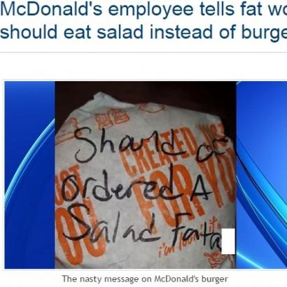 【海外発!Breaking News】米・マクドナルドの店員、女性客のチーズバーガーの包装紙に「デブはサラダを注文すべき」