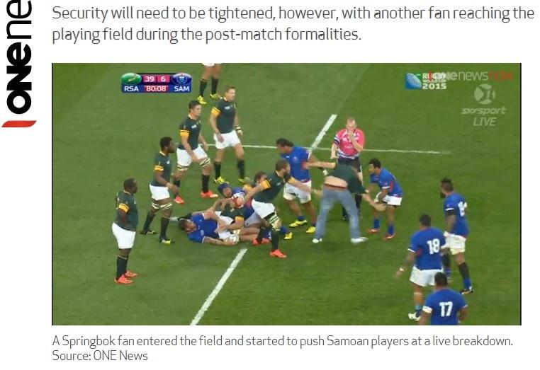 【海外発!Breaking News】ラグビー南ア代表の熱狂的ファン、W杯イングランド大会の試合に乱入。