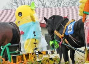 ふなっしー、ばんえい競馬を体験