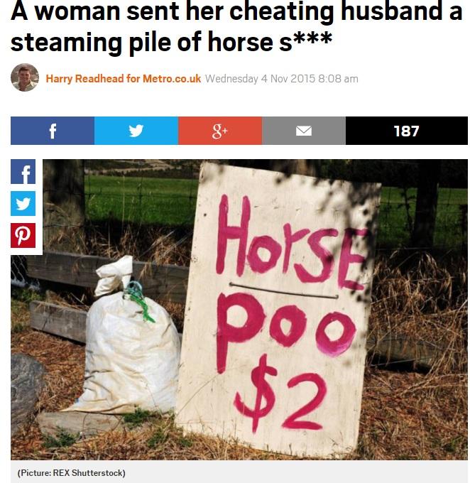 """【海外発!Breaking News】浮気した元夫に""""馬糞""""を送りつけた女性(英)"""