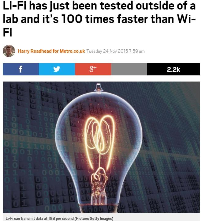 光を使った通信技術「Li-Fi」の普及は近い?(画像はmetro.co.ukのスクリーンショット)