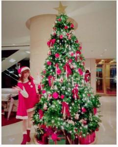 クリスマスツリーと並ぶ大島麻衣(画像は『大島麻衣 Instagram』より)