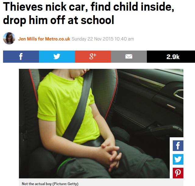 【海外発!Breaking News】車泥棒、後部座席の8歳男児を学校まで送り届ける(米)