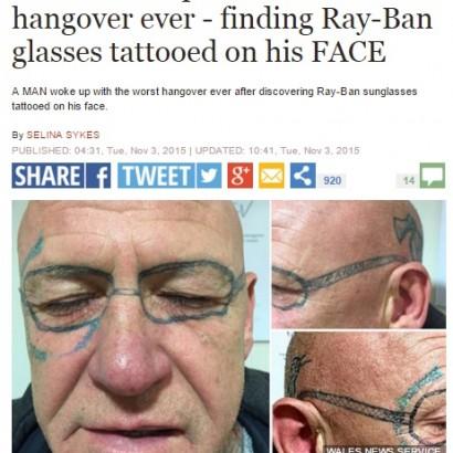 【海外発!Breaking News】顔に仰天の「メガネ」タトゥー。まるで英国版『ハングオーバー!』事件。