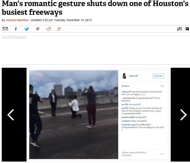 【海外発!Breaking News】高速道路、突然のプロポーズで渋滞に。警察の「おめでとう」に市民唖然(米)