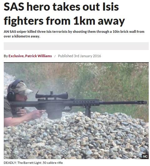 イギリス特殊部隊のスナイパー 1km離れた「イスラム国」戦闘員を射殺