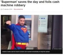 【海外発!Breaking News】スーパーマンなりきり男、ATM現金ひったくり犯を捕獲(英)